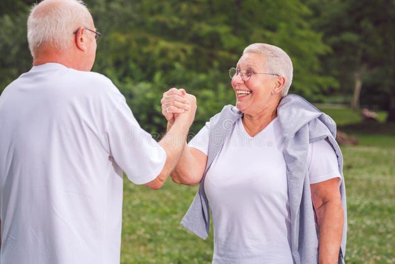 Zusammen trainieren wir bessere ältere Paare des Trainings und fu habend lizenzfreies stockfoto