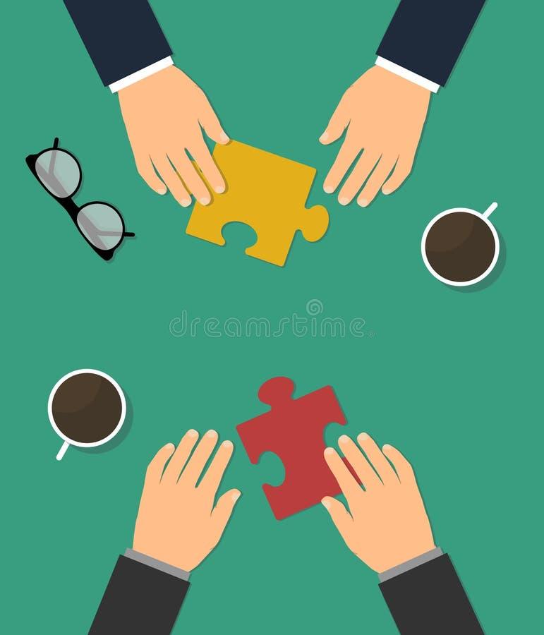 Zusammenarbeit zwischen Unternehmen und Partnerschaft lizenzfreie abbildung