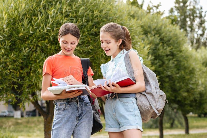 Zusammenarbeitende Schüler; Lachen und Umfassung stockfoto