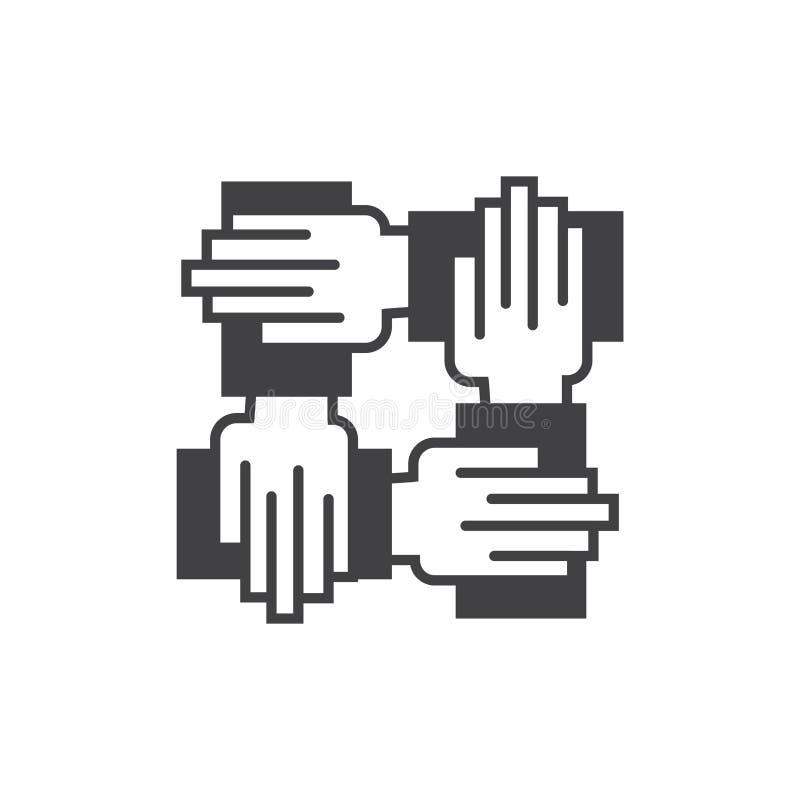 Zusammenarbeitsikone Zeichensymbol mit Hand vier lizenzfreie abbildung