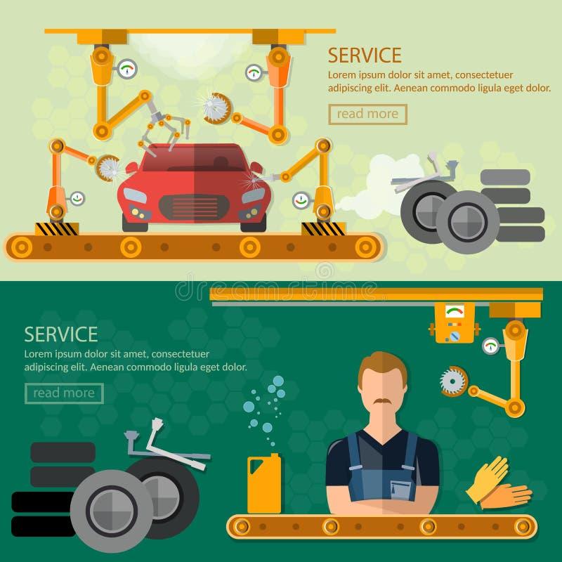 Zusammenbauendes Autofabrikauto reparieren FahnenFörderband stock abbildung
