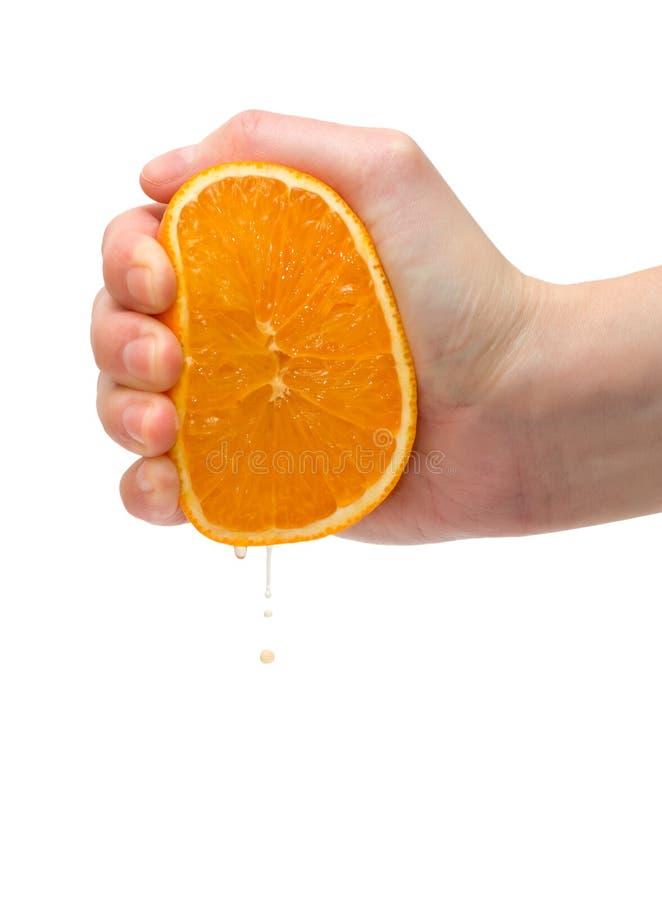 Zusammendrücken der Orange stockfotos