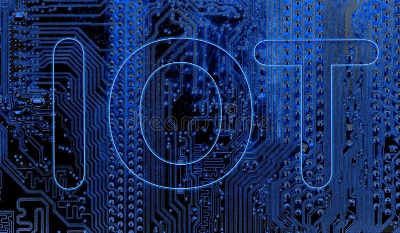 Zusammenfassung, Abschluss oben des Elektronenrechenanlagehintergrundes Mainboard IOT, Internet von Sachen stock abbildung
