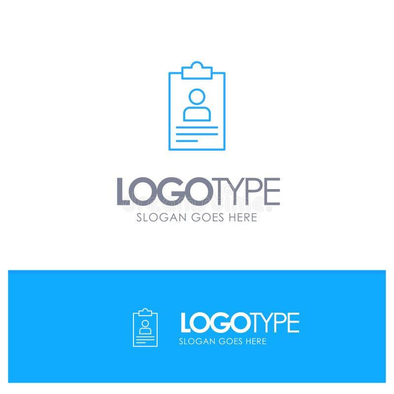 Zusammenfassung, Anwendung, Klemmbrett, Lehrplan, blaues Logo Entwurf Lebenslaufs mit Platz für Tagline vektor abbildung