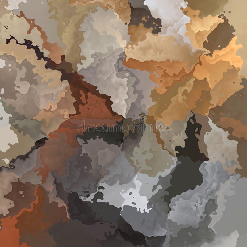 Zusammenfassung befleckte nahtlose Musterhintergrund-Braun-, Graue und Beigefarben - moderne Malereikunst - Aquarelleffekt lizenzfreie abbildung