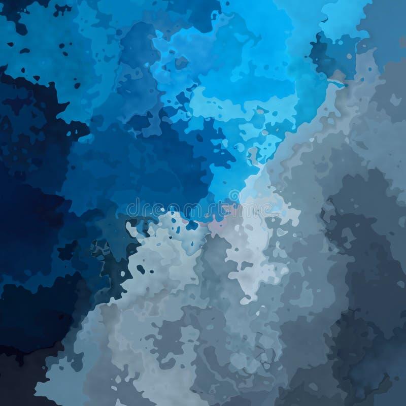Zusammenfassung befleckte nahtlosen Musterhintergrund blaue und graue Farben - moderne Malereikunst - Aquarelleffekt stock abbildung