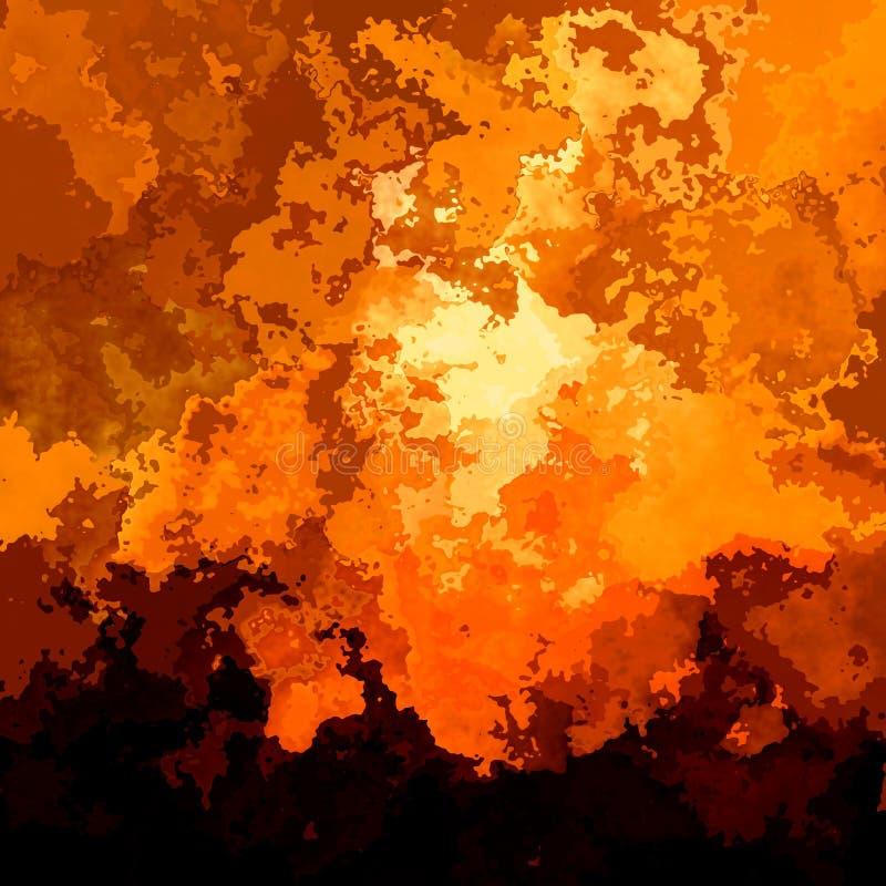Zusammenfassung befleckte orange braune Farbe des quadratischen Sonnenuntergangs des Hintergrundes brennenden - moderne Malereiku vektor abbildung