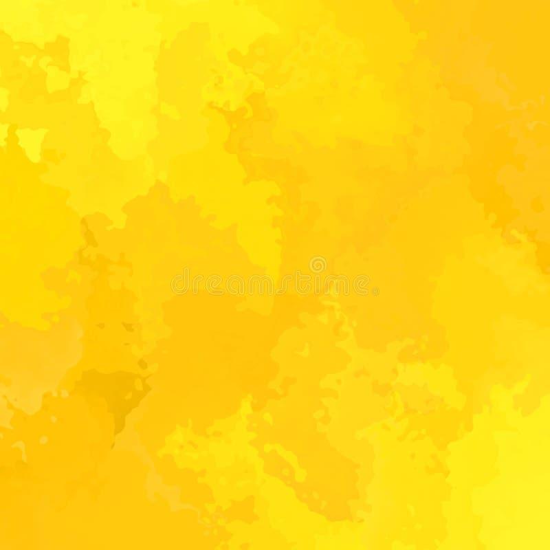 Zusammenfassung befleckte sonnige gelbe Farbe des quadratischen Hintergrundes - moderne Malereikunst - Aquarell Splotcheffekt vektor abbildung