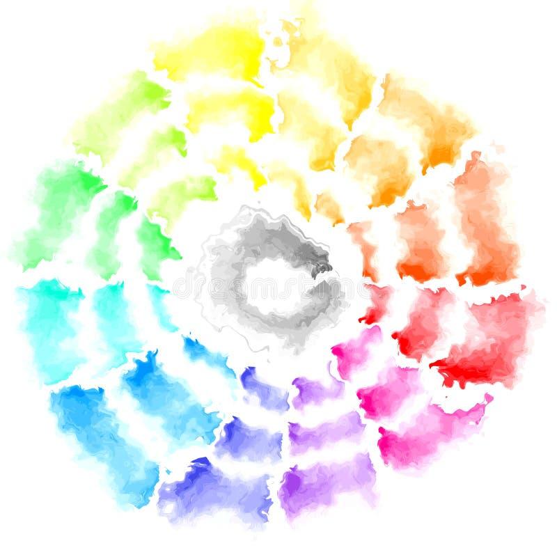 Zusammenfassung befleckter farbenreicher Spektrumregenbogen des quadratischen Hintergrundes mit grauem Schwarzem im mittleren - m lizenzfreie abbildung