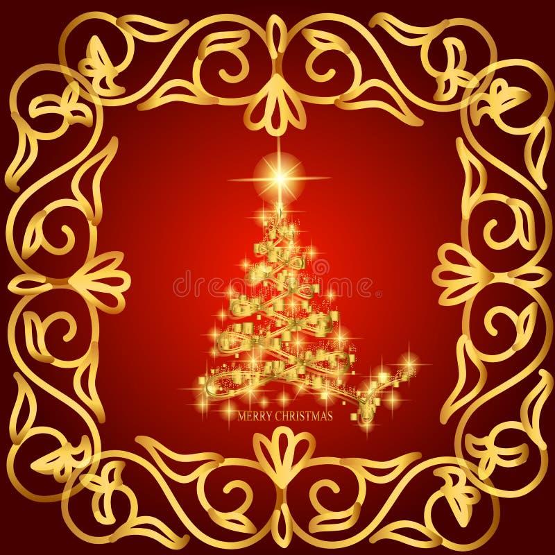 Zusammenfassung bewegt Hintergrund mit Weihnachtsbaum wellenartig Illustration in den Rot- und Goldfarben stock abbildung