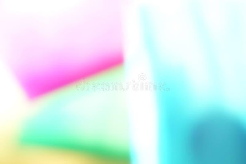 Zusammenfassung blured geometrischer Papierhintergrund des defocused Effektes Neontendenzmodefarben stockfoto