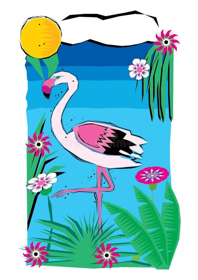Zusammenfassung Clipart des Flamingos im Teich oder im See mit schöner Blume lizenzfreie abbildung