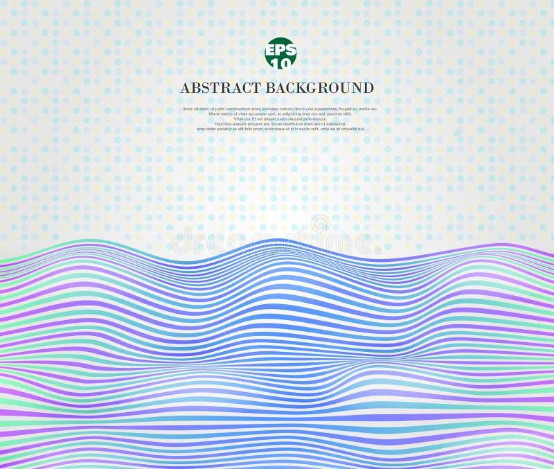 Zusammenfassung der blauen Welle der weichen Harmoniesteigung zeichnet, gewelltes Streifenmuster, weicher Punkthintergrund lizenzfreie abbildung