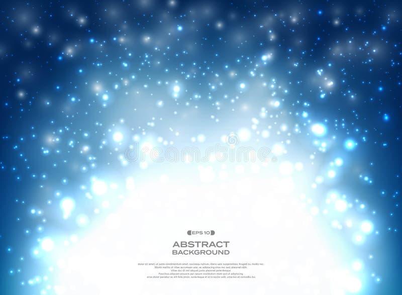 Zusammenfassung des blauen Weihnachtshintergrundes mit Funkelndekoration vektor abbildung