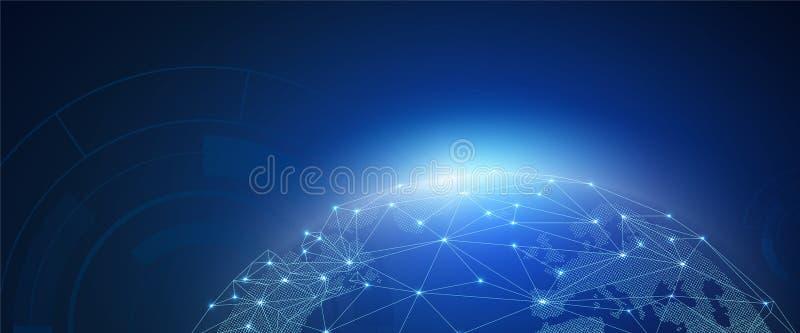 Zusammenfassung des Weltnetzes, des Internets und des globalen Verbindungskonzeptes, der Vektorkunst und der Illustration vektor abbildung