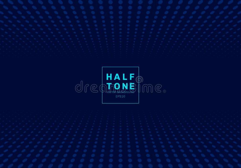 Zusammenfassung dunkelblauen Hintergrundes des Lichtpunktmusterdes halbtonkonzeptes des Entwurfes mit des Raumes Text fot Dekorat stock abbildung