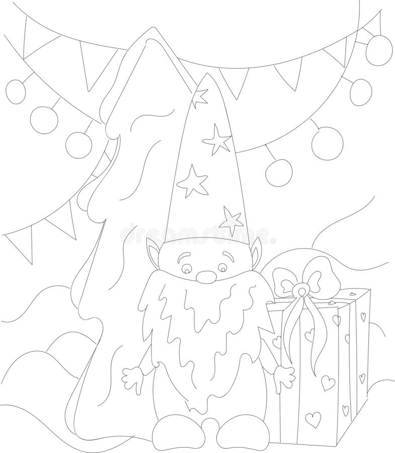 Zusammenfassung, Erwachsener, Kunst, Hintergrund, Schwarzes, Buch, Karikatur, Kinder, Weihnachten, Farbton, Malbuch, Färbungsseit vektor abbildung