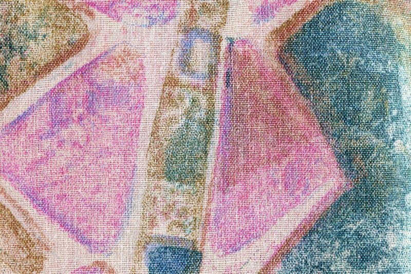 Zusammenfassung farbige Formen gedruckt auf Stoff stockfotos