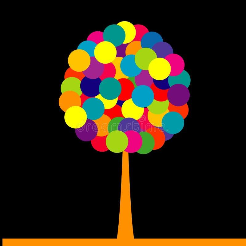 Zusammenfassung farbiger Baum über schwarzem Hintergrund stock abbildung