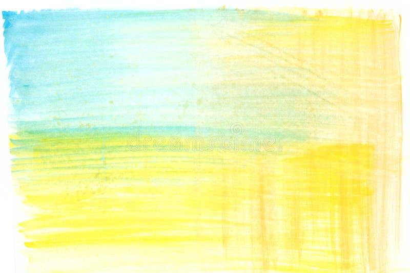Zusammenfassung gemalter Gelbgrün- und Blauaquarellhintergrund lizenzfreie stockbilder