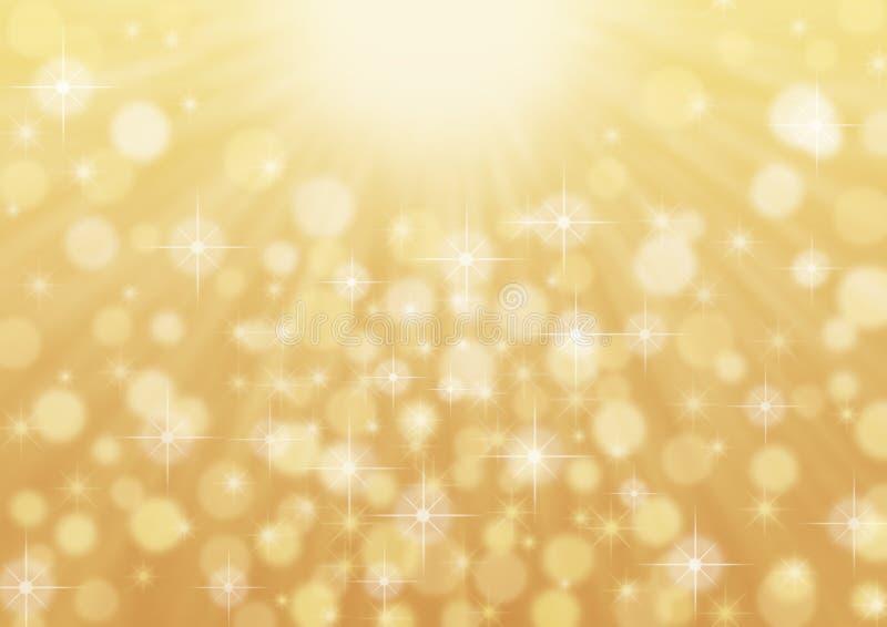 Zusammenfassung helle helle Strahlen, Scheine und Bokeh im goldenen Hintergrund vektor abbildung