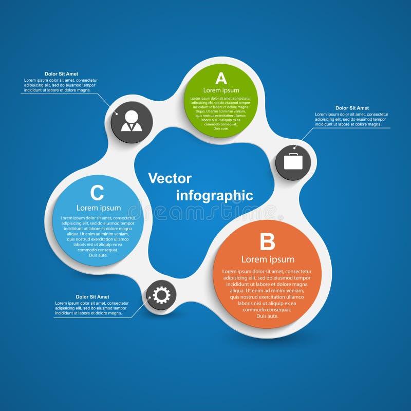 Zusammenfassung infographic in Form von metabolischem Vier Schneeflocken auf weißem Hintergrund vektor abbildung