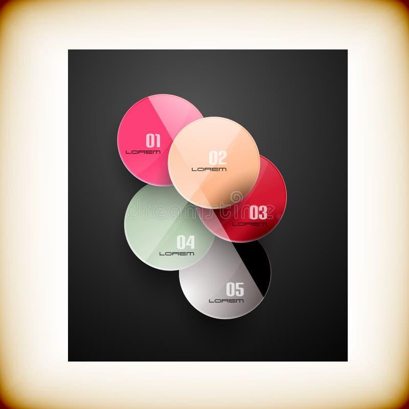 Zusammenfassung kreist infographic bunte Schablone ein stock abbildung