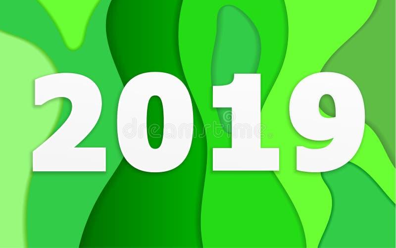 Zusammenfassung 2019 mit grünem Schichthintergrund vektor abbildung