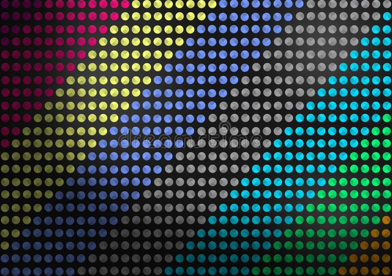 Zusammenfassung nahtloser bunter Dots Pattern im dunklen Hintergrund lizenzfreie abbildung