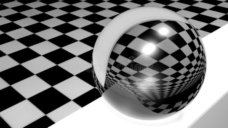 Zusammenfassung - reflektierender Glasbereich auf kariertem Raum - renderign 3D Illustration vektor abbildung