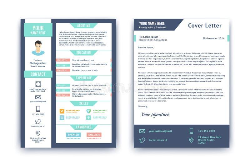 Zusammenfassung und Anschreibenschablone stock abbildung