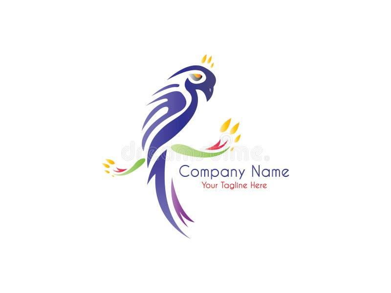 Zusammenfassung und einzigartige Wellensittichvektorentwurfsschablone Ein exotischer Vogel auf weißem background lizenzfreie abbildung