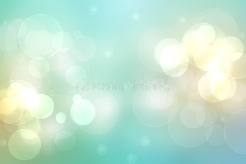 Zusammenfassung unscharfe frischer klarer Frühlingssommerheller empfindlicher Pastelltürkis gelbe bokeh Hintergrundbeschaffenheit stock abbildung