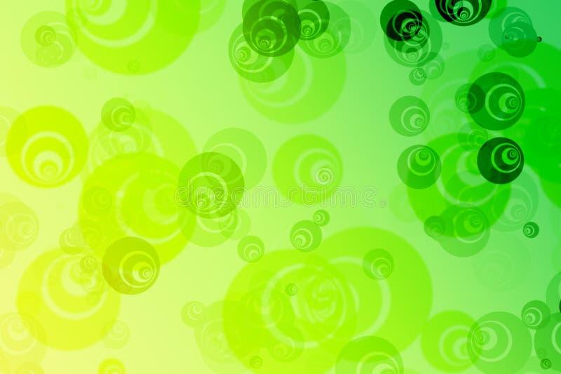 Zusammenfassung unscharfer grüner Hintergrund mit empfindlichen bunten Musterphantasieblasen, Kreise lizenzfreie abbildung