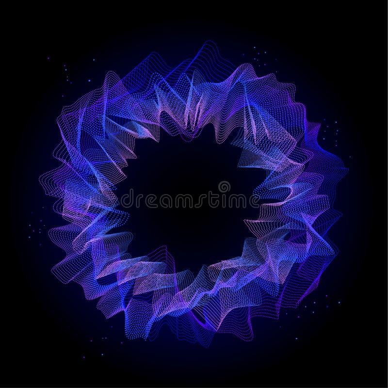 Zusammenfassung verdrehte geplätscherte verzerrte runde Form, blauer purpurroter Steigungskreis der punktierten Linien vektor abbildung