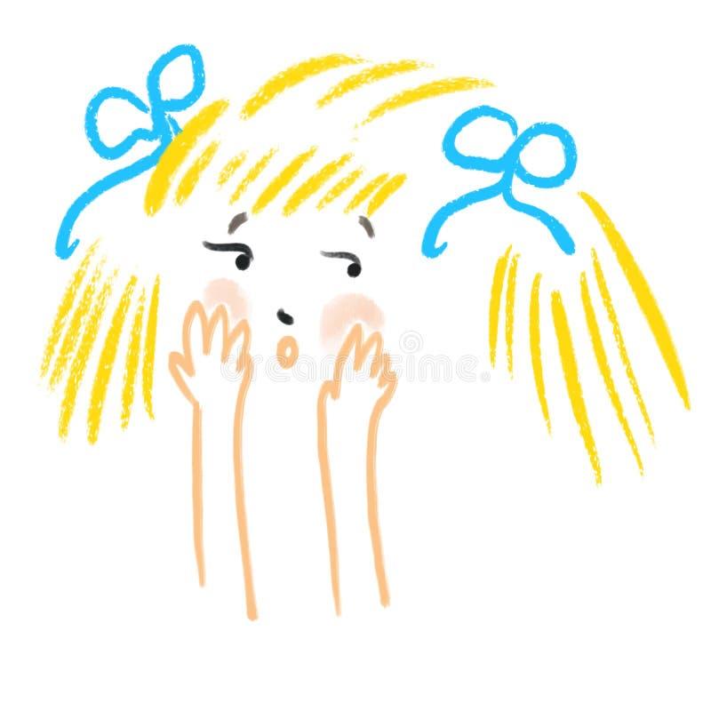Zusammenfassung verlegenes kleines Mädchen bedeckt ihr Gesicht mit ihren Händen Menschliche Gefühle, Schrecken, Verlegenheit lizenzfreie abbildung
