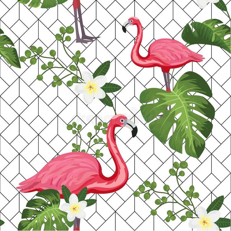 Zusammenfassung, Weinlesesommermuster mit rosa Flamingos und geometrischer Hintergrund Für Gewebe Beschaffenheit, Drucke, Tapete, vektor abbildung