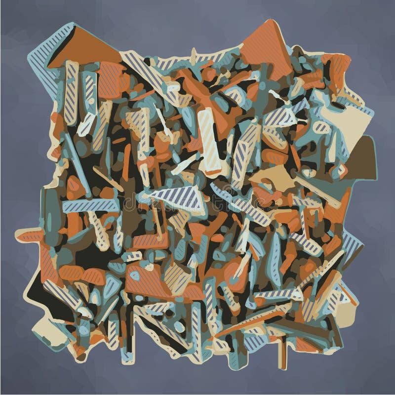 Zusammenfassung zersplitterte Skulptur in Blauem und in Orange vektor abbildung