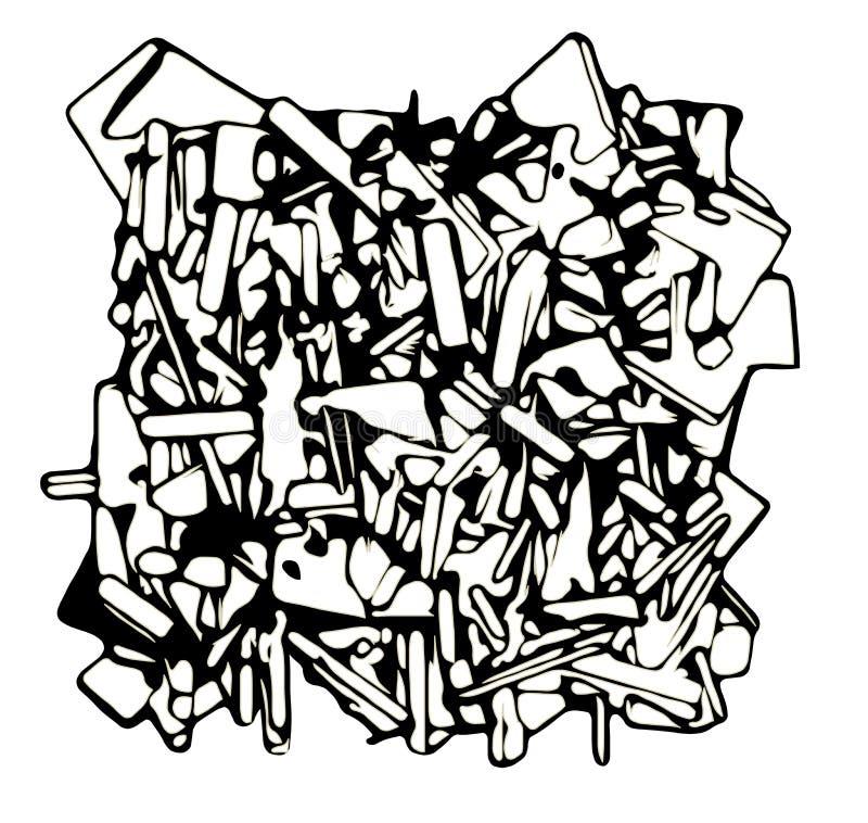 Zusammenfassung zersplitterte Skulptur in Schwarzweiss lizenzfreie abbildung