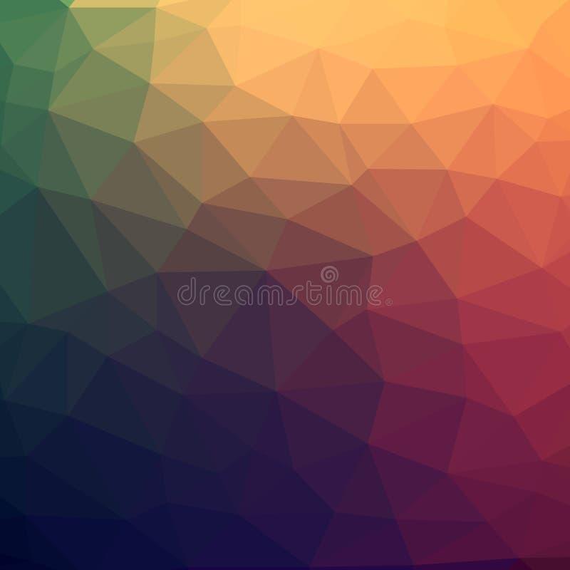 Zusammenfassungs-bunter niedriger Polyvektor-Hintergrund mit warmem lizenzfreie abbildung