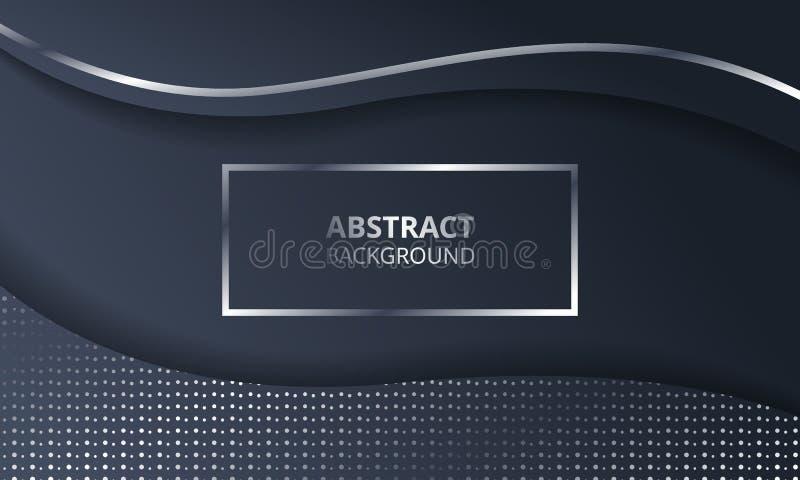 Zusammenfassungs-dunkle metallische silberne Rahmen-Technologie-elegante Entwurfs-Hintergrund-Schablone lizenzfreie stockfotografie