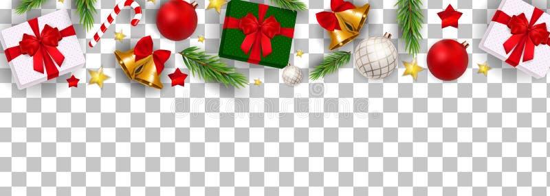 Zusammenfassungs-Feiertags-neues Jahr und frohe Weihnacht-Grenze auf transparenter Hintergrund-Vektor-Illustration lizenzfreie abbildung