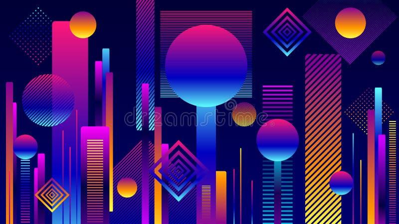 Zusammenfassungs-futuristischer geometrischer Stadthintergrund in den bunten Farben stock abbildung