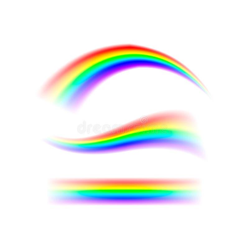 Zusammenfassungs-gesetzter Regenbogen in den verschiedenen Formen Spektrum des Lichtes, sieben Farben Vektorillustration lokalisi lizenzfreie abbildung