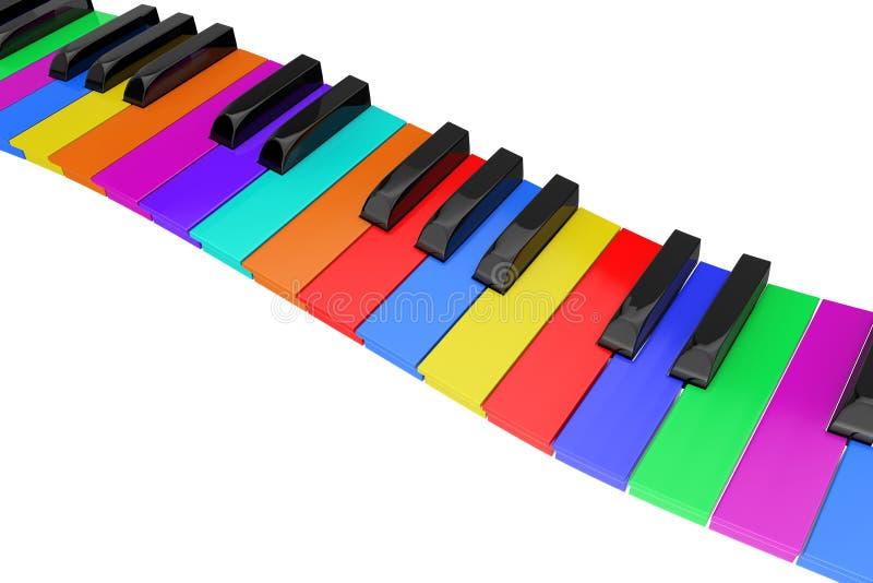 Zusammenfassungs-gewellte bunte Klavier-Tastatur Wiedergabe 3d stock abbildung