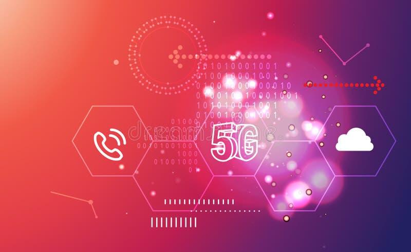 Zusammenfassungs-Illustration der Technologie-5G lizenzfreie abbildung