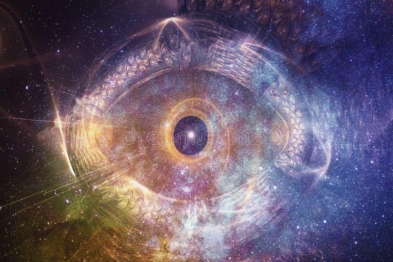 Zusammenfassungs-künstlerische mehrfarbige glühende Galaxie mit einem Digital-Auge in einem Raum-Hintergrund lizenzfreie abbildung