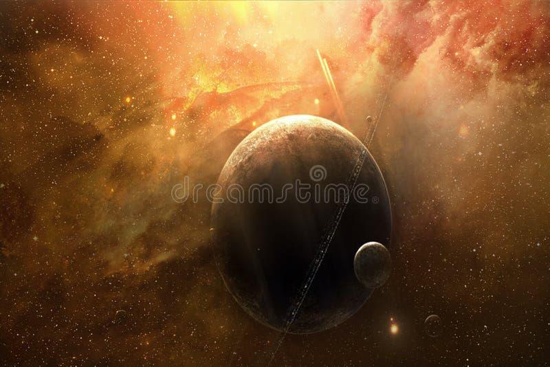 Zusammenfassungs-künstlerischer träumerischer Planet mit ihm ist Mond in einem träumerischen Galaxie-Hintergrund vektor abbildung