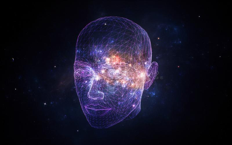 Zusammenfassungs-k?nstlerische k?nstliche Intelligenz-Schnittstelle in einem Nebelfleck-Hintergrund lizenzfreie stockfotos