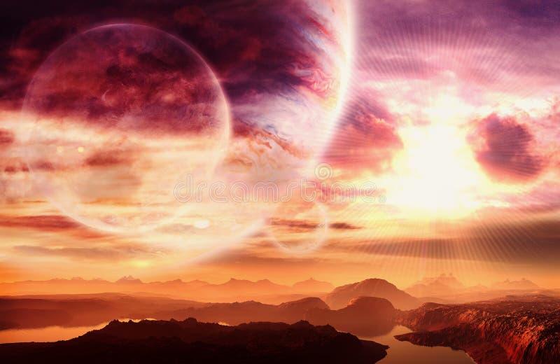 Zusammenfassungs-k?nstlerischer tr?umerischer Planet mit ihm ist Mond in einem tr?umerischen Galaxie-Hintergrund stockfoto